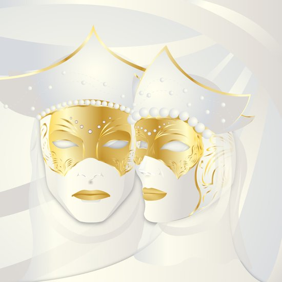Mascaras Venecianas (White) Art Print