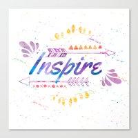 Inspire Watercolor Canvas Print