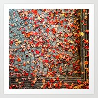 Red Leaves, Grey Stones Art Print