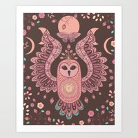 The Owl, The Moon & The Butterfly Art Print