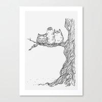 Three Owls In A Tree Canvas Print
