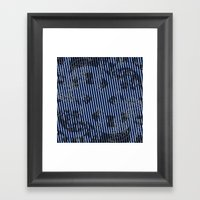 Blue grunge stripes on white background  Framed Art Print