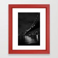 Manhattan Night Black & White Framed Art Print