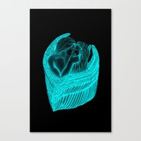 Angels Kissing in green and black design Canvas Print