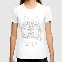 Wolf line illustration Womens Fitted Tee White SMALL