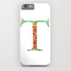 Floral Monogram Letter T iPhone 6 Slim Case