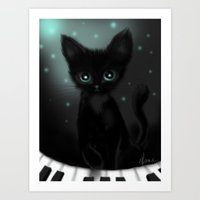 Musical Kitten Art Print