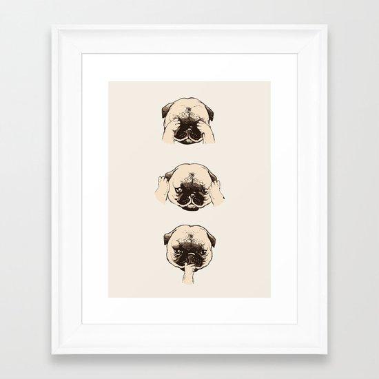 No Evil Pug  Framed Art Print