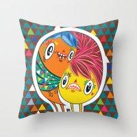 Polypop 2 Heads Throw Pillow