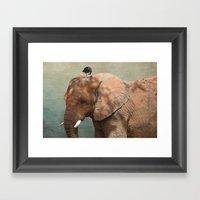 Brotherly- Elephant And … Framed Art Print