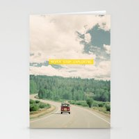 drive Stationery Cards featuring NEVER STOP EXPLORING - vintage volkswagen van by Leslee Mitchell