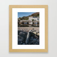 Boats moored in the harbour at Seaton. Devon, UK. Framed Art Print