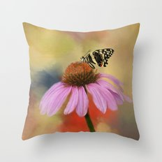 Coneflower and Butterfly Throw Pillow