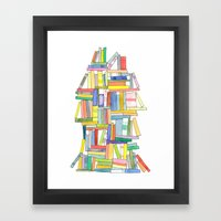 Book Stack Framed Art Print