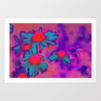 Fluro Flower Art Print