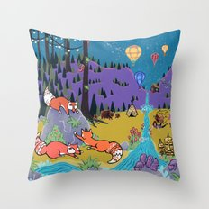 Foxy Forest Throw Pillow
