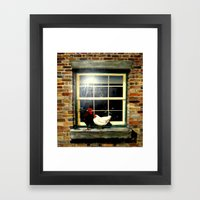 Roosters on a ledge  Framed Art Print