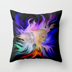 Woman and Horse - Fantasy Rainbow Art Throw Pillow