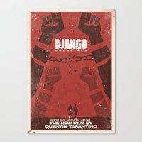 Django Unchained -  Quentin Tarantino Minimal Movie Poster Canvas Print