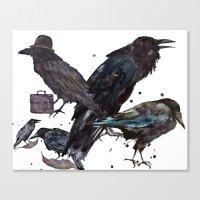 Ravens, Raven painting, watercolor raven, bird art Canvas Print