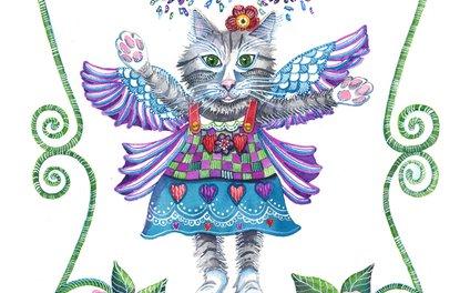 Art Print - Angel Kitty - Shelley Ylst Art