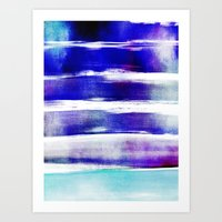 waves - indigo Art Print