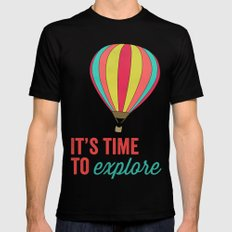 IT'S TIME TO EXPLORE- HOT AIR BALLOON Mens Fitted Tee Black SMALL