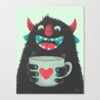 Demon With A Cup Of Coff… Canvas Print