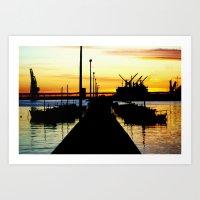 Light shines over the Harbour Art Print