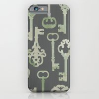 iPhone & iPod Case featuring Skeleton Key Pattern in Gray by Elephant Trunk Studio