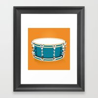 Drum - Orange Framed Art Print