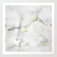 Yellow Cracked Design Art Print