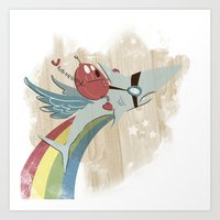 Art Print featuring The Super Fire Awesome Rainbow Dream Adventure! by David Finley