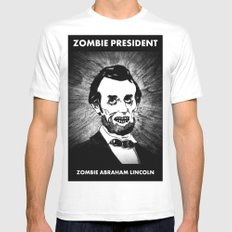 16. Zombie Abraham Lincoln  White SMALL Mens Fitted Tee