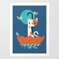Umbrella Cat Art Print