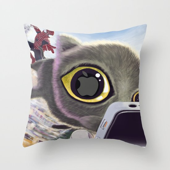 Falling Cat & Hero Throw Pillow