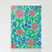 Wildflowers In Aqua Stationery Cards