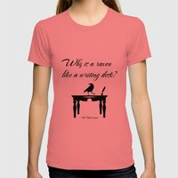 Alice In Wonderland Why Is A Raven Like A Writing Desk Womens Fitted Tee Pomegranate SMALL