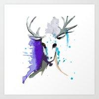 Christmas Watercolor Reindeer Art Print