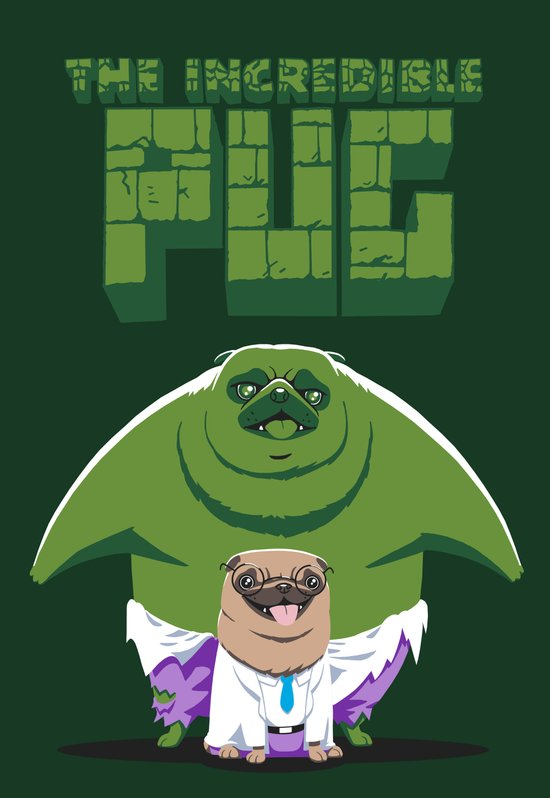 The Incredible Pug Art Print