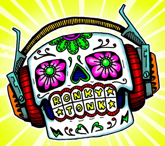 Sugar Skull with Headphones Zombie by RonkyTonk Art Print