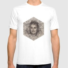 Audrey Hepburn dot work portrait Mens Fitted Tee SMALL White