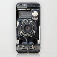 iPhone Cases featuring Vintage Autographic Kodak Jr. Camera by Typography Photography™