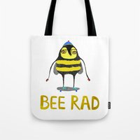 Bee. bee art, bee illustration, nature, illustration, wall, kids, skater, skateboarding, rad,  Tote Bag
