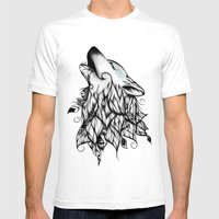 The Wolf  Mens Fitted Tee White SMALL