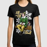 Elf on and Elf on a Shelf Womens Fitted Tee Tri-Black SMALL