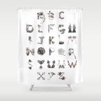 Floral Alphabet  Shower Curtain