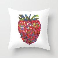 Strawberry (Fraise) Throw Pillow