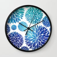 Ocean Flowers Watercolor Wall Clock