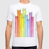 Cat Rainbow Watercolor P… Mens Fitted Tee Ash Grey MEDIUM